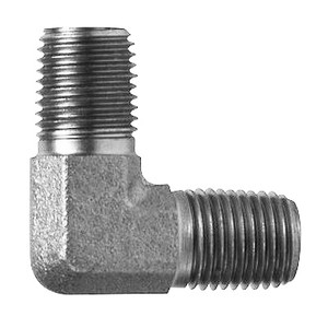1/8 in. x 1/8 in. Male Elbow, 90 Degree, Steel Pipe Fitting Hydraulic Adapter