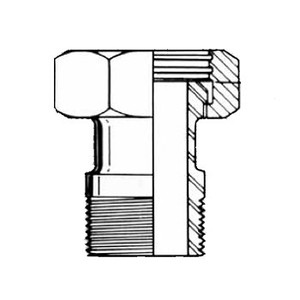 1 in. 14-19 Adapter (Acme Hex to Male NPT) 304 Stainless Steel Sanitary Fitting Dimensions