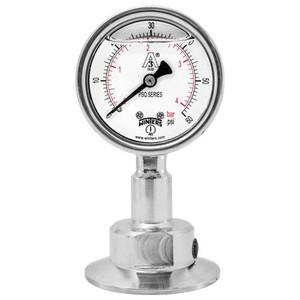 2.5 in. Dial, 0.75 in. BTM Seal, Range: 0/30 in.VAC/BAR, PSQ 3A All-Purpose Quality Sanitary Gauge, 2.5 in. Dial, 0.75 in. Tri, Bottom