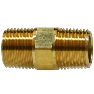 1/8 in. Hex Nipple, MIPxMIP, NPTF Threads, SAE 130137, Light Pattern, 1200 PSI Max, Brass, Pipe Fitting