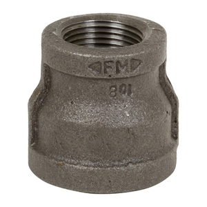 1-1/2 in. x 1/2 in. Black Pipe Fitting 150# Malleable Iron Threaded Reducing Coupling, UL/FM