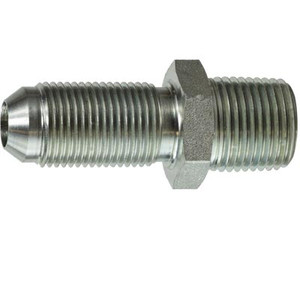 7/16-20 x 1/4 in. JIC to Male Pipe Steel Bulkhead Hydraulic Adapter