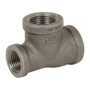 1 in. x 1/2 in. x 3/4 in. Black Pipe Fitting 150# Malleable Iron Threaded Reducing Tee, UL/FM