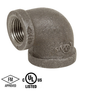 2-1/2 in. x 1 in. Black Pipe Fitting 150# Malleable Iron Threaded 90 Degree Reducing Elbow, UL/FM