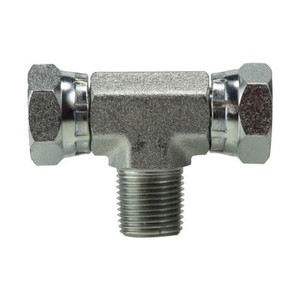 1/4 in. Female NPSM x 1/4 in. Male NPT Steel Male Swivel Branch Tee Hydraulic Adapter