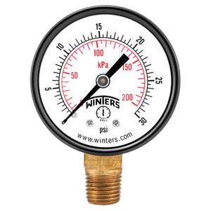 PEM-LF SERIES, ECONOMY PRESSURE GAUGE (LEAD-FREE), 1.5 in. Dial, 0/30 in. VAC/KPA 1/8 in. NPT LM Bottom