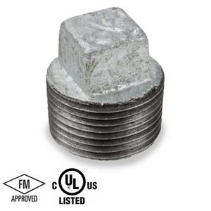 4 in. Galvanized Pipe Fitting 150# Malleable Iron Threaded Square Head Plug, UL/FM