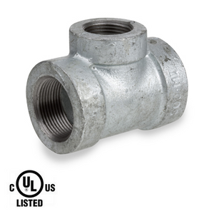 4 in. x 3 in. Galvanized Pipe Fitting 300# Malleable Iron Threaded Reducing Tee, UL Listed