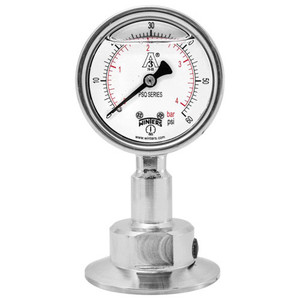 2.5 in. Dial, 0.75 in. BTM Seal, Range: 0-30 PSI/BAR, PSQ 3A All-Purpose Quality Sanitary Gauge, 2.5 in. Dial, 0.75 in. Tri, Bottom