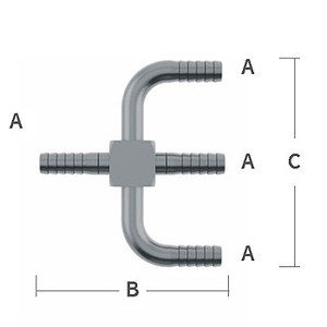 1/4 in. Y-Cross 303/304 Combination Stainless Steel Beverage Fitting