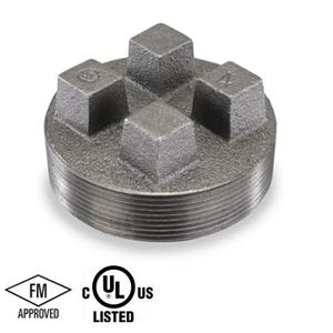 4 in. Black Pipe Fitting 150# Malleable Iron Threaded Bar Plug, UL/FM