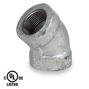 1/2 in. Galvanized Pipe Fitting 300# Malleable Iron 45 Degree Elbow, UL Listed