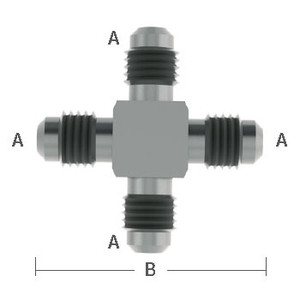 1/4 in. (7/16-20) Male Flare Cross Adapter Stainless Steel Beverage Fitting