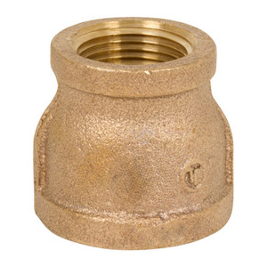 3/8 in. x 1/8 in. Threaded NPT Reducing Coupling, 125 PSI, Lead Free Brass Pipe Fitting