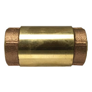 1 in. In-Line Check Valve, 200 WOG/125 WSP, Forged Brass Body, Stainless Steel Spring Loaded Bronze Poppet