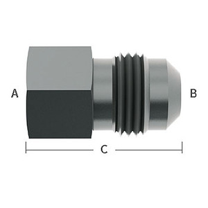 1/4 in. Female Flare x 3/8 in. Male Flare Straight Adapter Stainless Steel Beverage Fitting