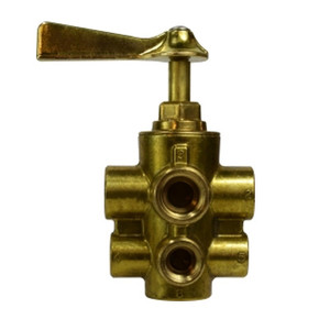 1/2 in. x 3/8 in. Six Port Brass Valve with Mounting Pads, Ind. No SK-1036