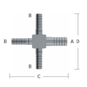1/2 in. x 1/4 in. Reducing Barb Hose Crosses Stainless Steel Beverage Fitting