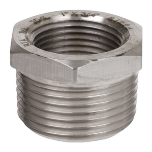 2 in. x 1 in. Threaded NPT Hex Bushing 316/316L 3000LB Stainless Steel Pipe Fitting