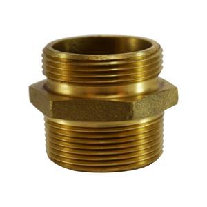1-1/2 in. NPT x 1-1/2 in. NPSH, Double Male Hex Nipple, Brass Fire Hose Fitting