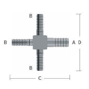 3/8 in. x 1/4 in. Reducing Barb Hose Crosses Stainless Steel Beverage Fitting