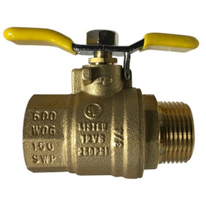 1/4 in. 600 WOG, Male x Female (M x F), Tee Handle Ball Valve, Forged Brass Body, UL