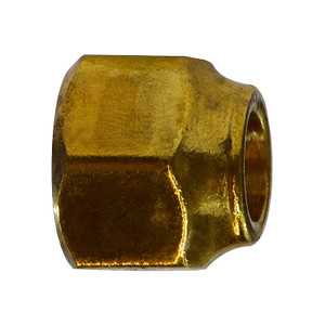 1/4 in. UNF Threaded Extra Heavy Short Forged Nut, SAE 45 Degree Flare Brass Fitting