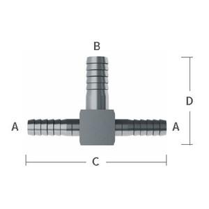 1/4 in. x 3/8 in. Enlarging Barb Hose Tees 303/304 Combination Stainless Steel Beverage Fitting