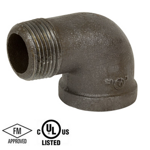 1-1/2 in. Black Pipe Fitting 150# Malleable Iron Threaded 90 Degree Street Elbow, UL/FM
