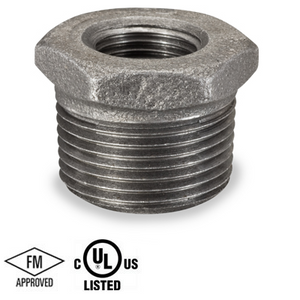 3 in. x 3/4 in. Black Pipe Fitting 150# Malleable Iron Threaded Hex Bushing, UL/FM