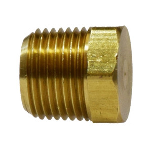 1/8 in. Cored Hex Head Plug, (MIP) NPTF Threads, 1200 PSI Max, Brass, Pipe Fitting