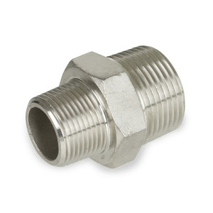 1/4 in. x 1/8 in. Reducing Hex Nipple - NPT Threaded - 150# 304 Stainless Steel Pipe Fitting