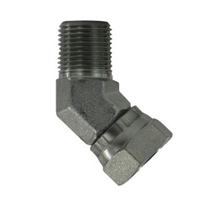 1/2 in. x 3/8 in. Male to Female NPSM 45 Degree Pipe Elbow Swivel Adapter Steel Hydraulic Fitting