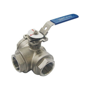 1/4 in. 3 Way L Port 316 Stainless Steel Ball Valve 1000 WOG NPT