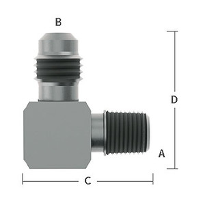 1/4 in. MNPT x 1/4 in. (7/16-20) Male Flare Adapter Elbow, 303/304 Comb. Stainless Steel Beverage Fitting