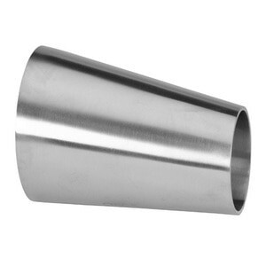 """1-1/2"""" x 1"""" Polished Eccentric Weld Reducer (32W) 304 Stainless Steel Butt Weld Sanitary Fitting (3-A)"""