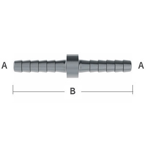1/8 in. (1.56 in. OAL) Barb Splicer 303 Stainless Steel Beverage Fitting