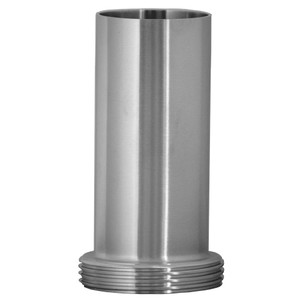 1 in. 15AHT Tygon Hose Adapter (Bevel Seat Threaded End x Long Tube End) (3A) 304 Stainless Steel Sanitary Fitting