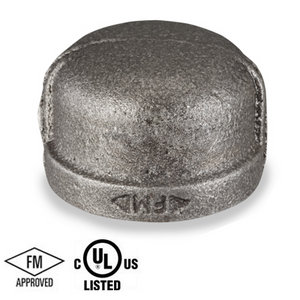 2 in. Black Pipe Fitting 150# Malleable Iron Threaded Cap, UL/FM