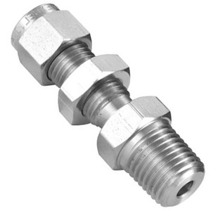 1/4 in. Tube x 1/8 in. NPT - Bulkhead Male Connector - Double Ferrule - 316 Stainless Steel Tube Fitting