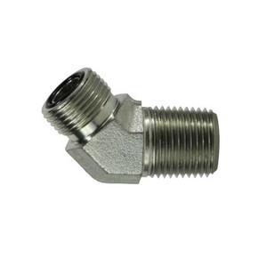 9/16-18 x 1/4 in. Male ORFS x Male NPT Pipe, 45 Degree Elbow, Steel O-Ring Face Seal Hydraulic Adapter