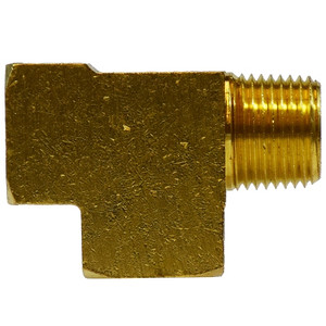 1/8 in. Street/Service/Male Run Tee, FIP x MIP x FIP, NPTF Threads, SAE 130424, 1200 PSI Max, Brass Pipe Fitting