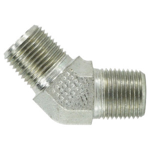 1 in. x 1 in. Male Elbow, 45 Degree, Steel Pipe Fitting Hydraulic Adapter
