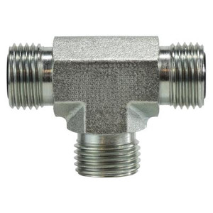 9/16-18 Male ORFS Union Tee, Steel O-Ring Face Seal Hydraulic Adapters