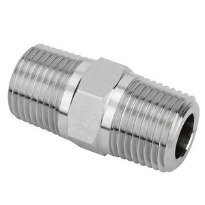 3/8 in. x 1/4 in. Threaded NPT Reducing Hex Nipple 4500 PSI 316 Stainless Steel High Pressure Fittings
