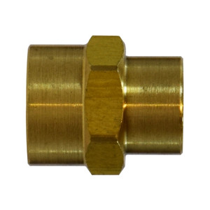 1/4 in. x 1/8 in. Reducing Coupling, FIP x FIP, NPTF Threads, Up to 1200 PSI, SAE# 130138, Brass, Pipe Fitting