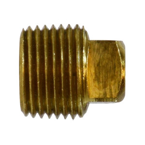 1/8 in. Solid Square Head Plug, NPTF Threads, 1200 PSI Max, Barstock Brass, Pipe Fitting
