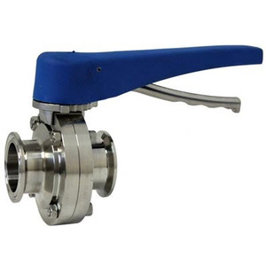 1.5 in. Tri-Clamp by 1 in. ID Butterfly Valve, Squeeze Trigger, 304 Stainless Steel
