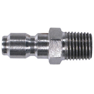 1/4 in. Male Stainless Steel Plug, Straight Through Style, Pneumatic Quick Disconnect, 6000 PSI