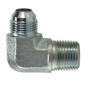 7/16-20 MJIC x 1/8-28 MBSPT Steel Male JIC x BSPT 90 Degree Elbow